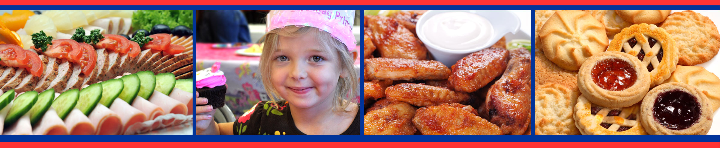 Hometown Markets Party Platters, Birthday Party Items, Wings, Cookies, Cakes and more
